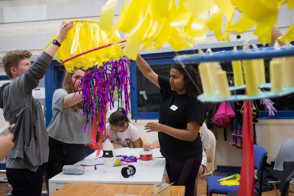 ENO youth programme set design group handcrafts props for censorship production