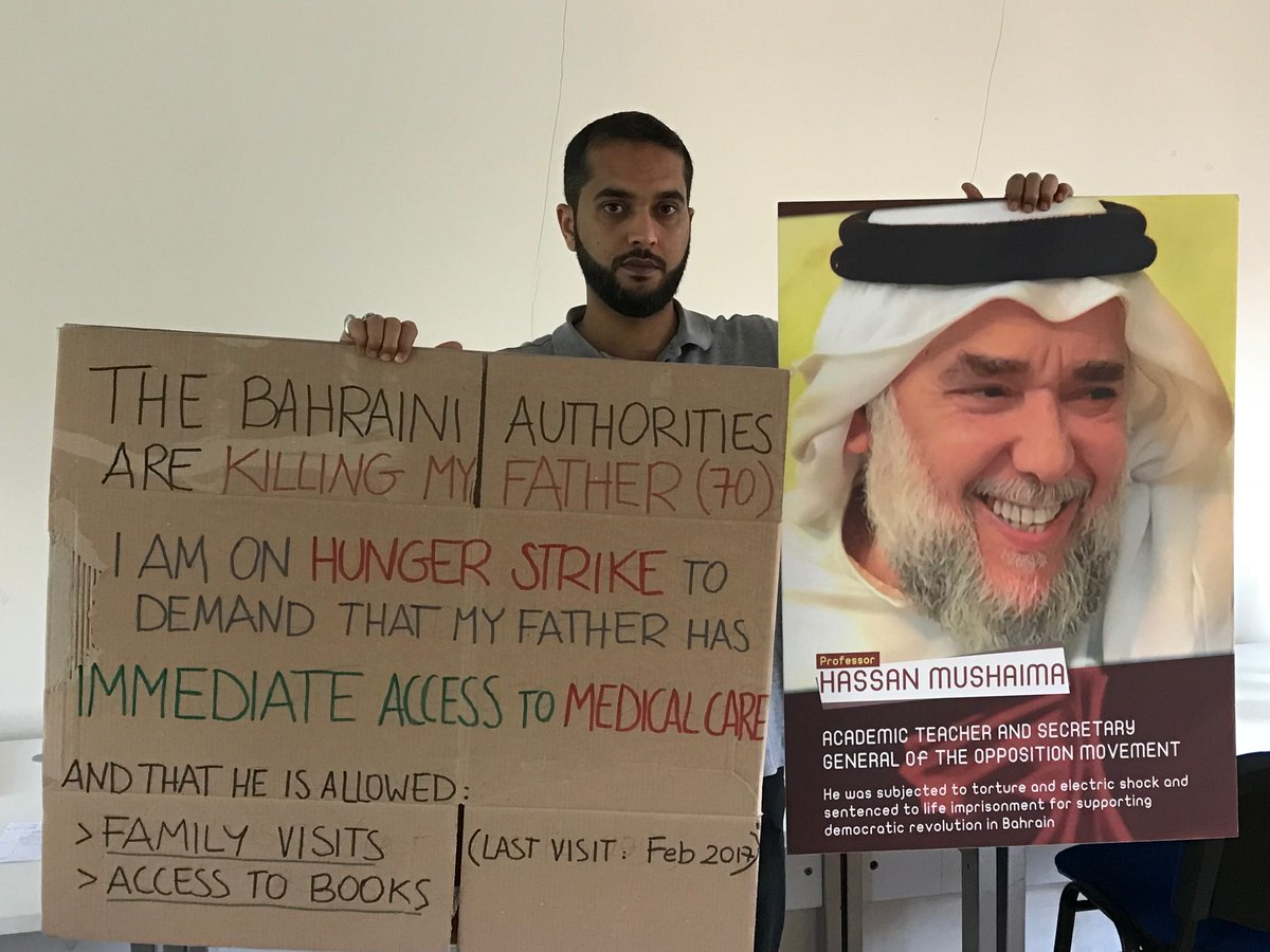 The Bahraini human rights mechanisms have largely failed to properly address concerns raised on behalf of Hassan Mushaima, and his life remains at risk. Because of this, his son, Ali Mushaima, is on his 20th day of a hunger strike outside of Bahrain's Embassy in London.