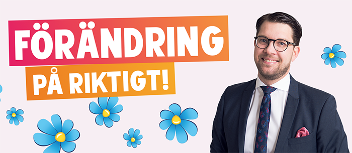 An image from the website of the right-wing populist Sweden Democrats, who changed their logo from a National Front-esque torch to a flower in an effort to clean up their image.