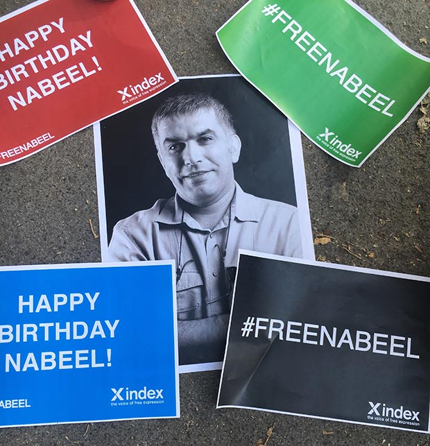 Nabeel Rajab is spending his 54th birthday in a Bahraini prison on politically motivated charges.