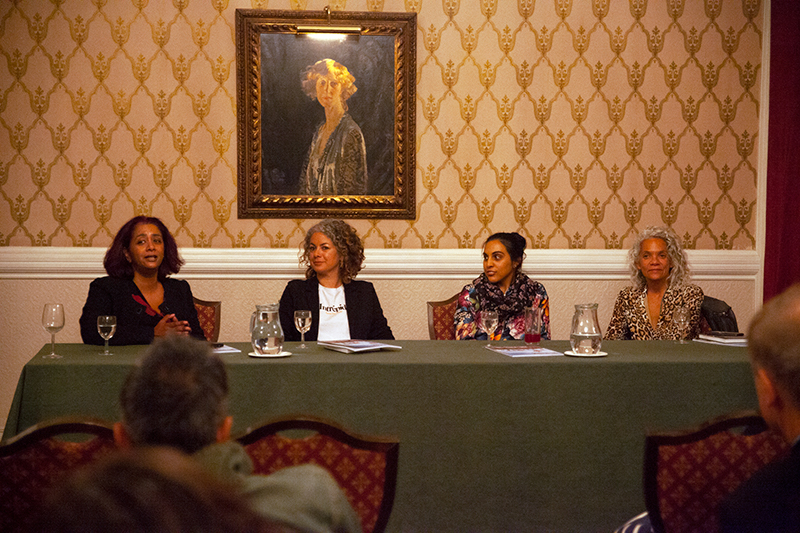 From left: Sunny Singh (author and Jhalak Prize co-founder), Jamilah Ahmed (author and literary agent), Sarah Shaffi (literary editor and journalist), Catherine Johnson (author and Jhalak Prize inaugural judge) (Photo: Leah Asmelash / Index on Censorship)