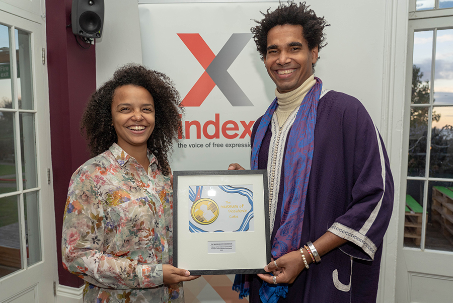 The Cuban artists behind the Musuem of Dissidence received their 2018 Freedom of Expression Award at Metal Southend. (Photo: Pixalvision for Index on Censorship)