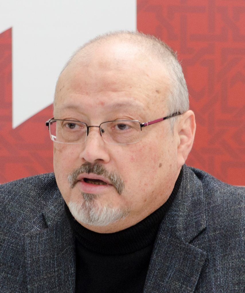 "Saudi journalist, Global Opinions columnist for the Washington Post, and former editor-in-chief of Al-Arab News Channel Jamal Khashoggi offers remarks during POMED's ""Mohammed bin Salman's Saudi Arabia: A Deeper Look"". March 21, 2018, Project on Middle East Democracy (POMED), Washington, DC."