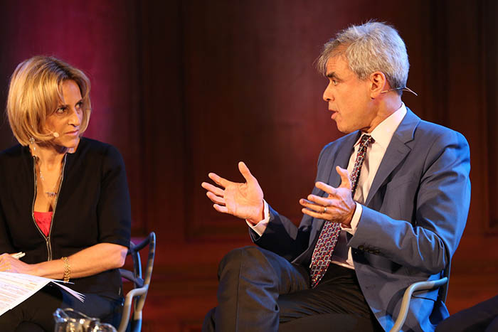 Emily Maitlis and Jonathan Haidt at The Battle Over Free Speech. Credit: Intelligence Squared