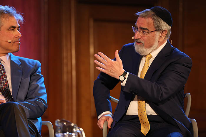 Jonathan Haidt and Rabbi Lord Sacks at The Battle Over Free Speech. Credit: Intelligence Squared
