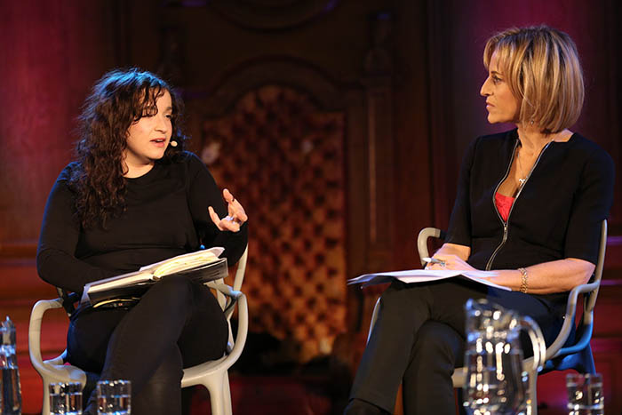 Eleanor Penny and Emily Maitlis at The Battle Over Free Speech. Credit: Intelligence Squared