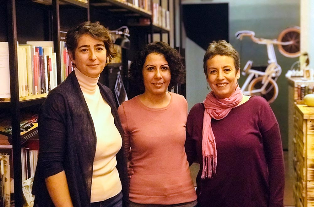 The organisers of the Eskişehir School and founders of Uçurtma Café: Pelin Yalçınoğlu (R), Gülcan Ergün (C) and Hatice Yeşildal pose at the café.