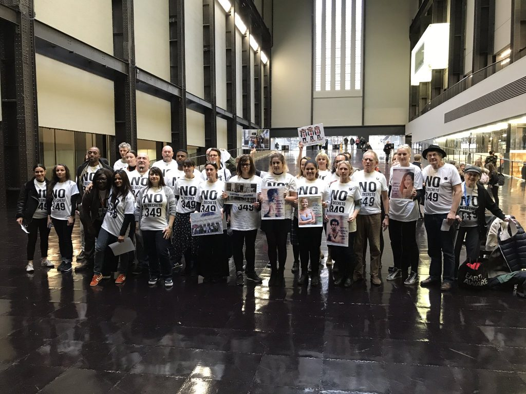Protest in support of jailed Cuban artists at the Tate Modern gallery, London, October 2018.