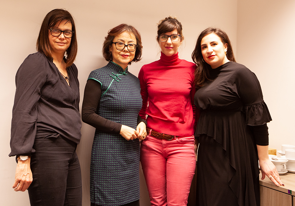 From left: Rachael Jolley, editor of Index on Censorship magazine, author Xinran, author Emilie Pine and founder of Bloody Good Period Gabby Edlin (Photo: Index on Censorship)
