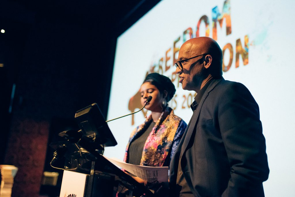 Momtaza Mehri, Young People's Laureate for London and Mark Sealy, Director of Autograph Gallery. (Photo: Elina Kansikas for Index on Censorship)