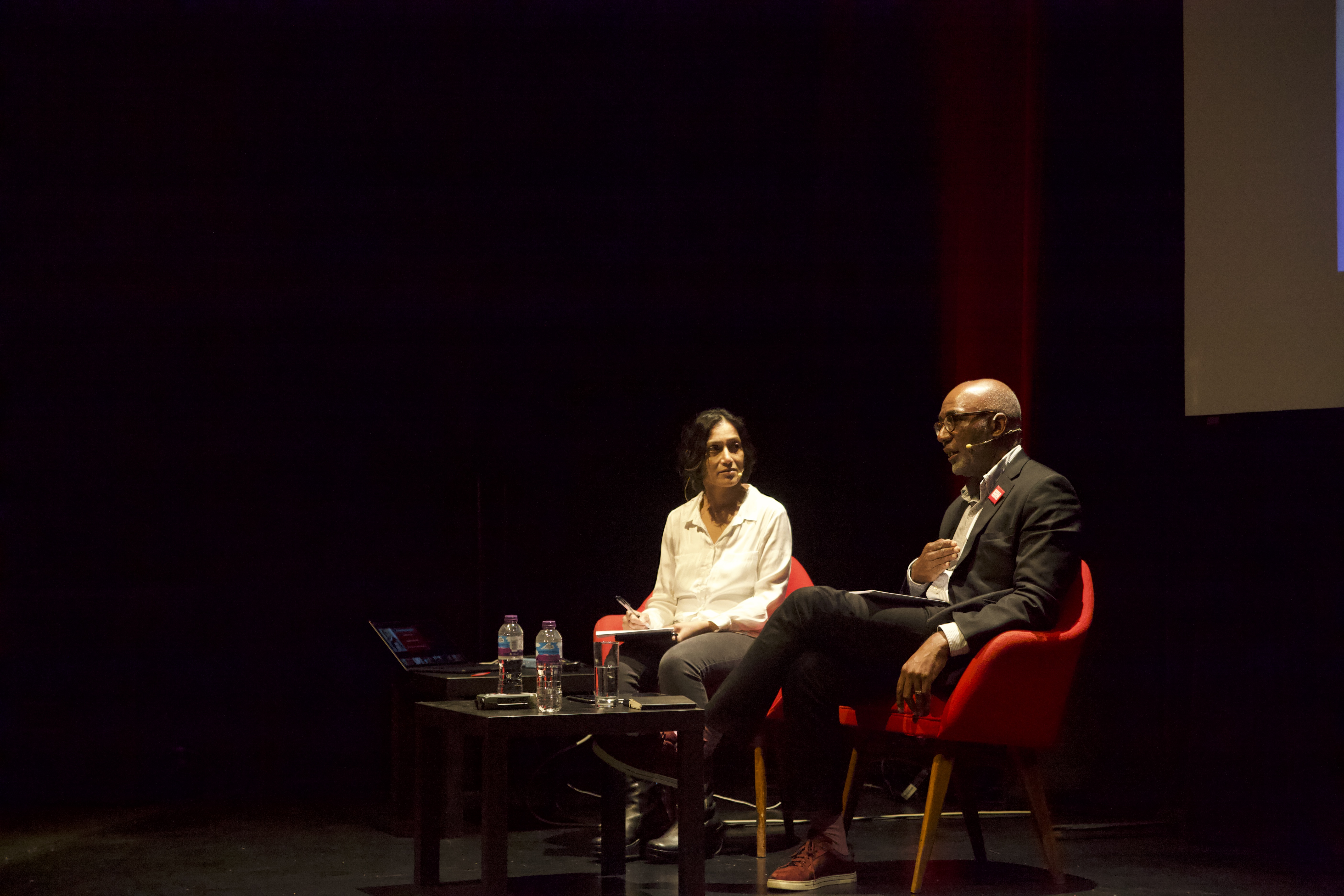 Shohini Chaudhuri and Trevor Phillips at the Essex Book Festival (Photo: Lewis Jennings / Index on Censorship)