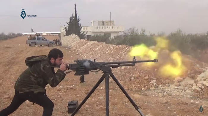 Turkish-backed fighters in combat during the Battle of al-Bab. Credit: Qasioun News Agency