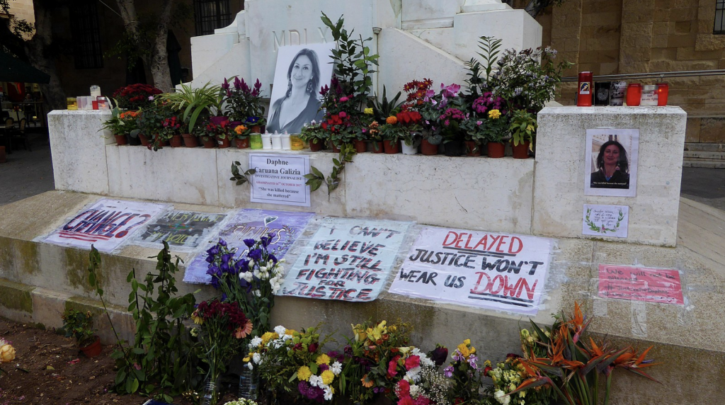 Memorial to murdered investigative journalist Daphne Caruana Galizia at the foot of the Great Siege Monument in Valletta, Malta