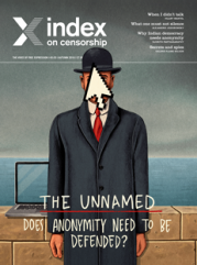 The unnamed, the September 2016 issue of Index on Censorship magazine