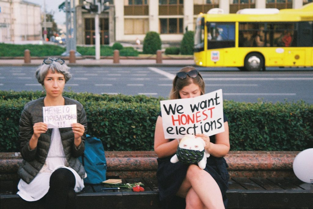Protesters in Minsk, Belarus, following the recent election. Credit: Jana Shnipelson/Unsplash