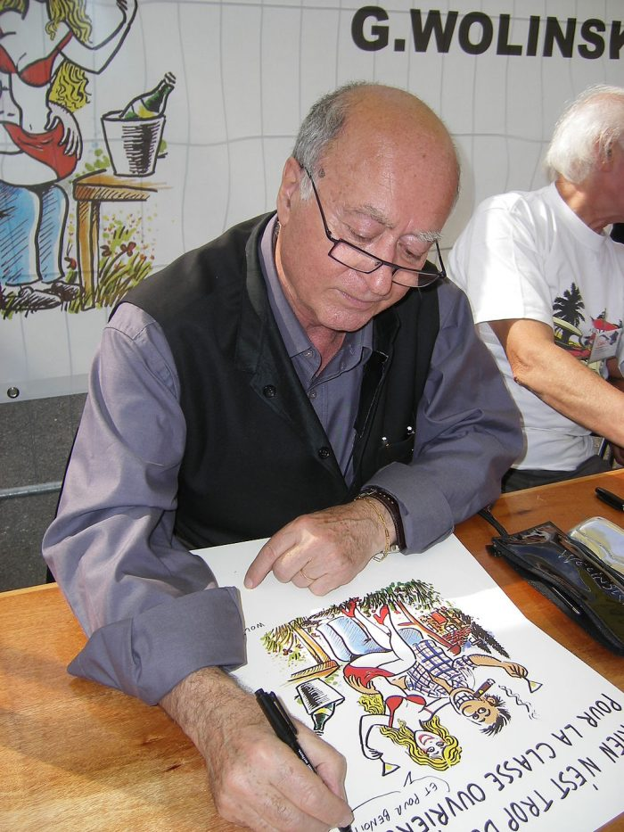 The cartoonist Georges Wolinski in 2007. Wolinksi was killed at the Charlie Hebdo office in 2015 aged 80. Credit: Alvaro/Wikimedia Commons