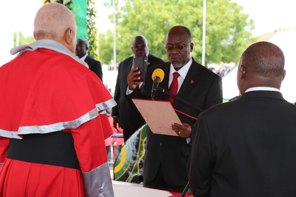 The swearing in of John Magufuli in 2015
