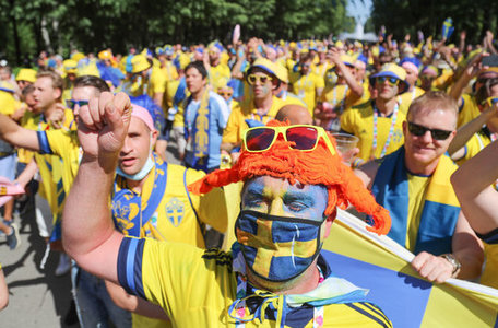 Sweden fans before their match with Slovakia at Euro 2020. Igor Russak/DPA/PA Images